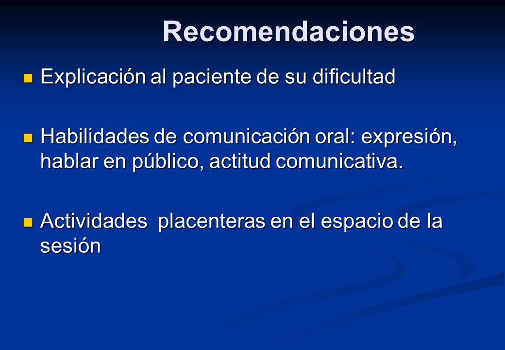 Recomendaciones Explicación al paciente de su dificultad
