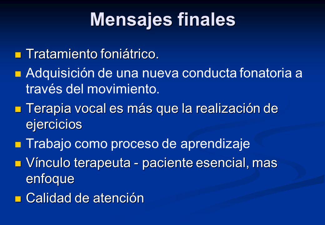 Mensajes finales Tratamiento foniátrico.
