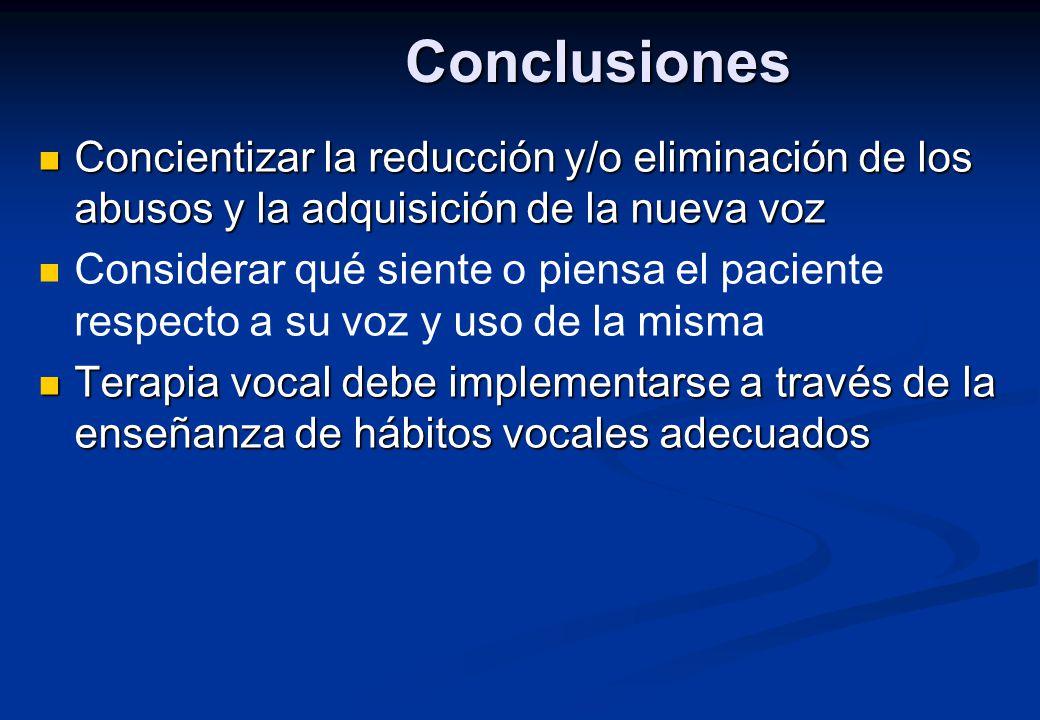 Conclusiones Concientizar la reducción y/o eliminación de los abusos y la adquisición de la nueva voz.