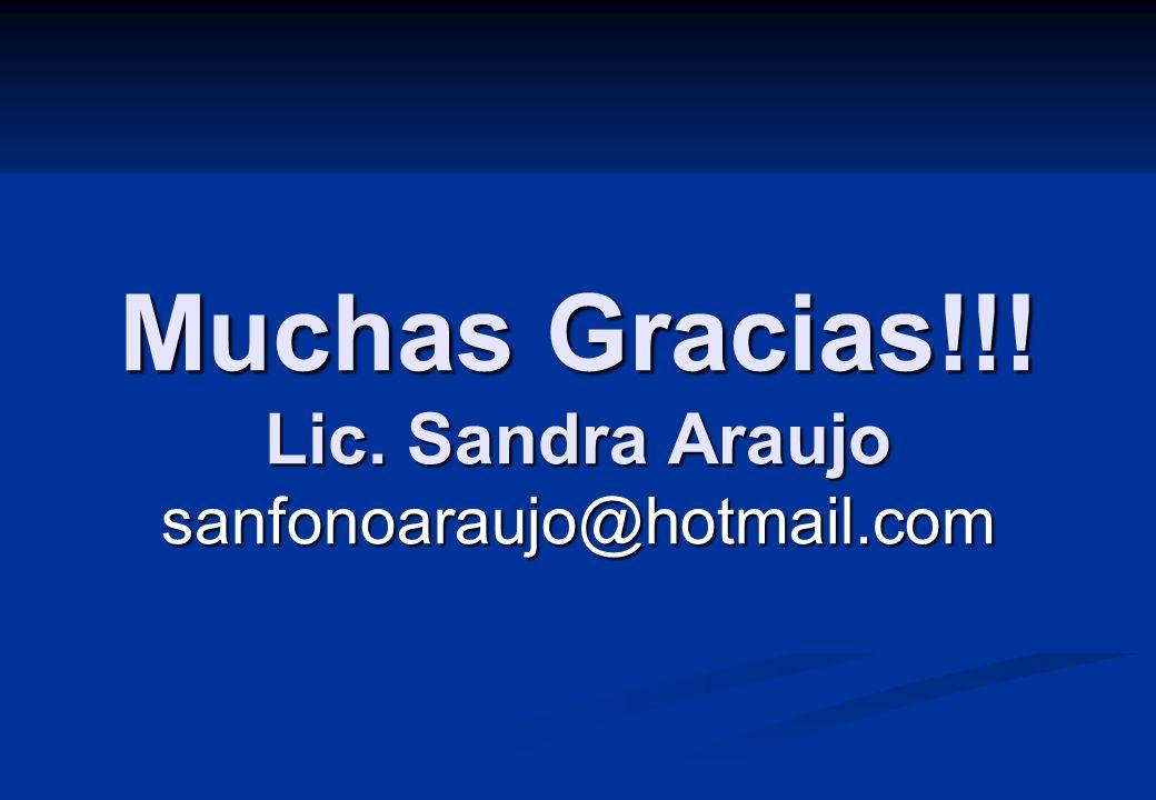 Muchas Gracias!!! Lic. Sandra Araujo sanfonoaraujo@hotmail.com