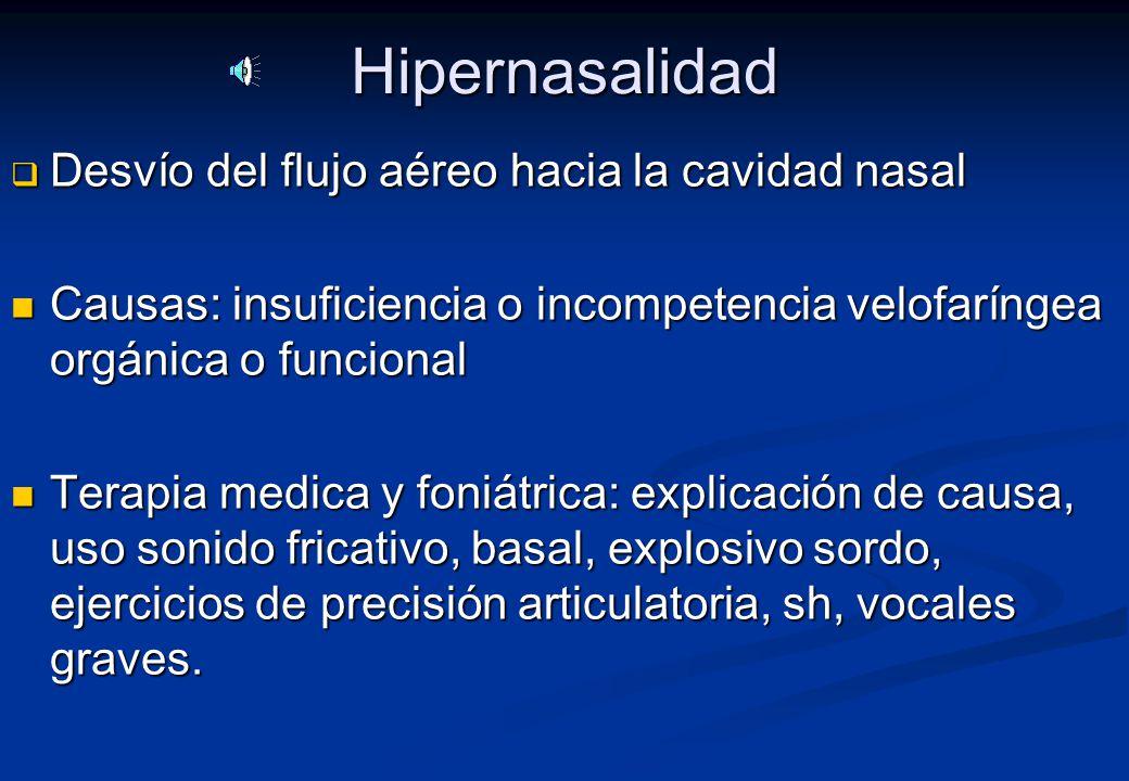 Hipernasalidad Desvío del flujo aéreo hacia la cavidad nasal
