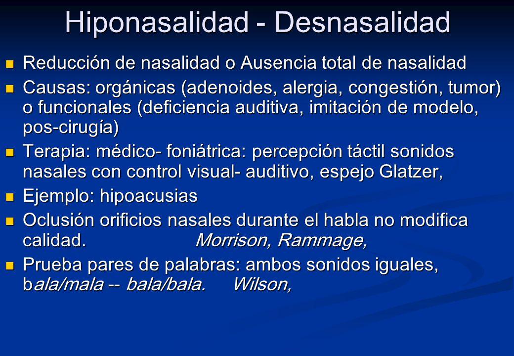 Hiponasalidad - Desnasalidad
