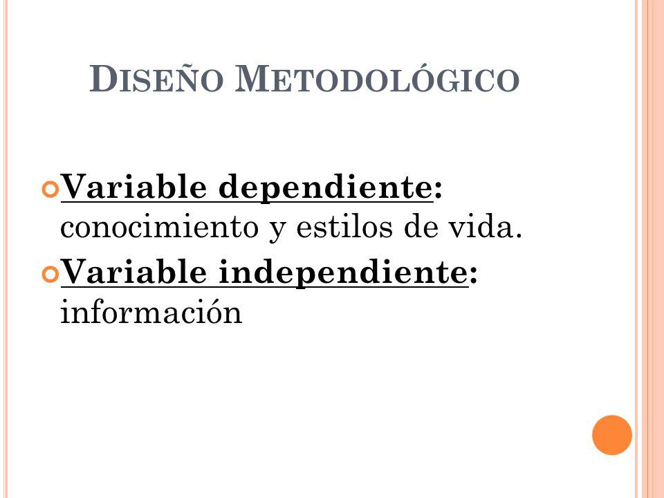 Diseño Metodológico Variable dependiente: conocimiento y estilos de vida.