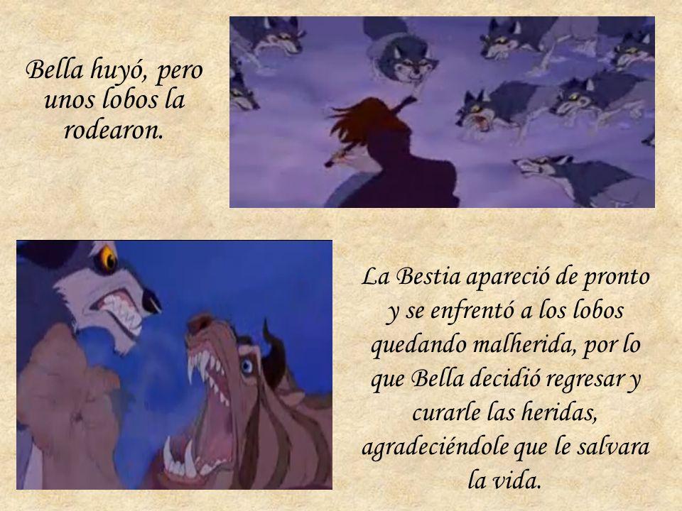 Bella huyó, pero unos lobos la rodearon.