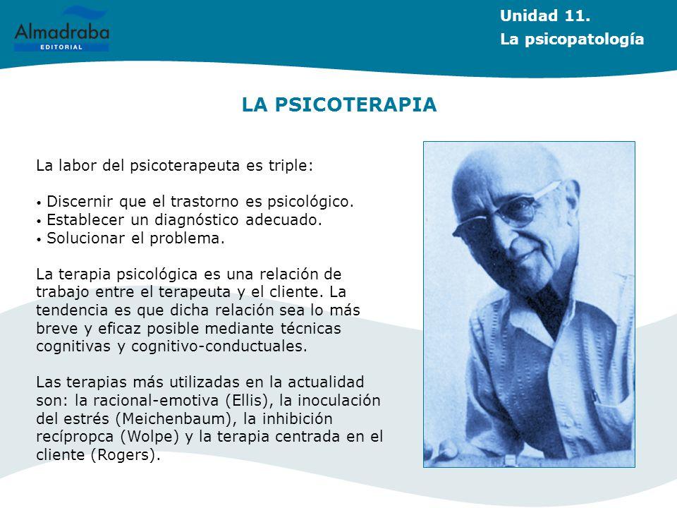 LA PSICOTERAPIA Unidad 11. La psicopatología