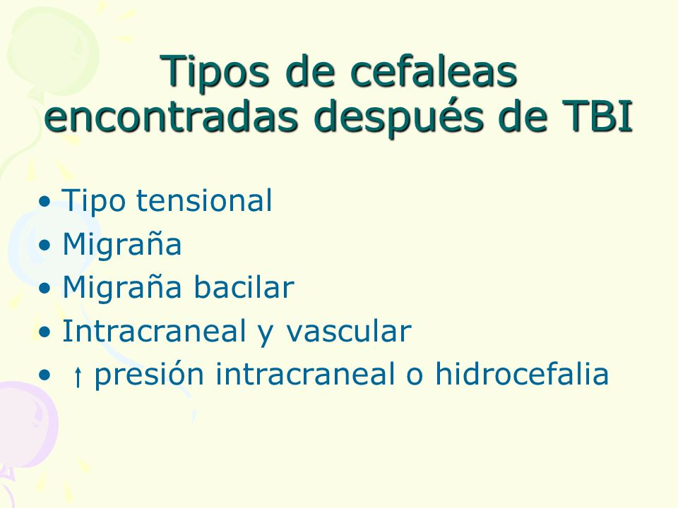 Tipos de cefaleas encontradas después de TBI