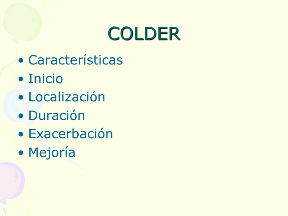 COLDER Características Inicio Localización Duración Exacerbación