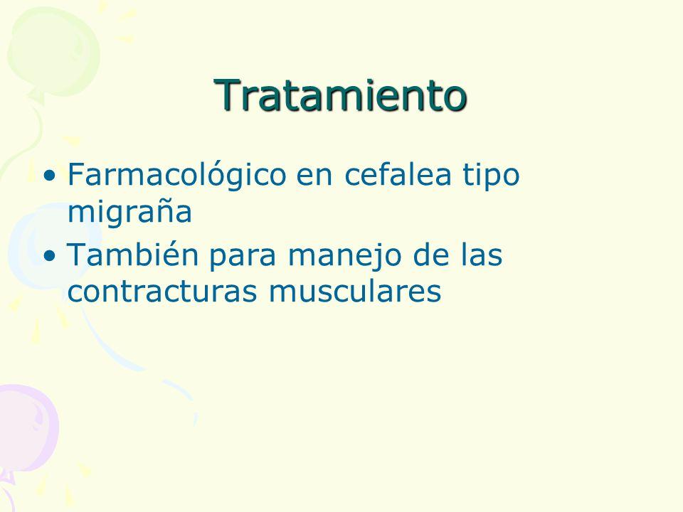 Tratamiento Farmacológico en cefalea tipo migraña