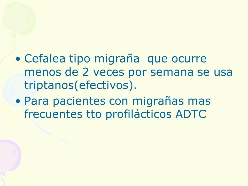 Cefalea tipo migraña que ocurre menos de 2 veces por semana se usa triptanos(efectivos).