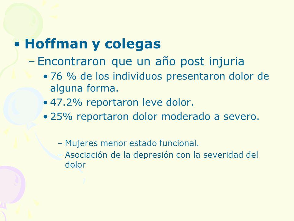 Hoffman y colegas Encontraron que un año post injuria