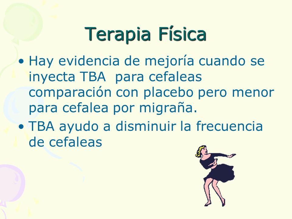 Terapia Física Hay evidencia de mejoría cuando se inyecta TBA para cefaleas comparación con placebo pero menor para cefalea por migraña.
