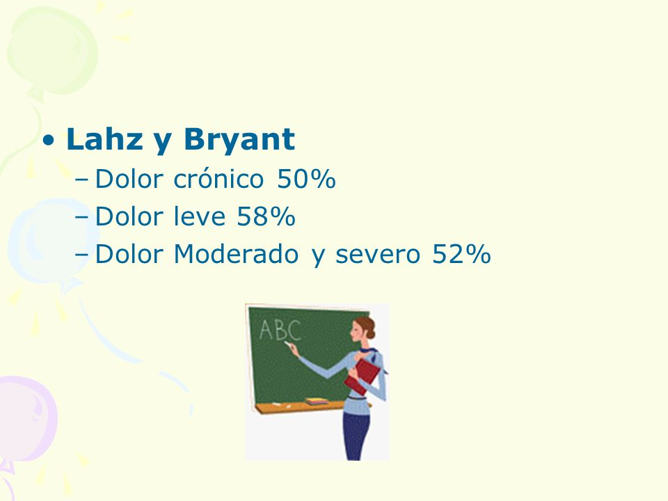 Lahz y Bryant Dolor crónico 50% Dolor leve 58%
