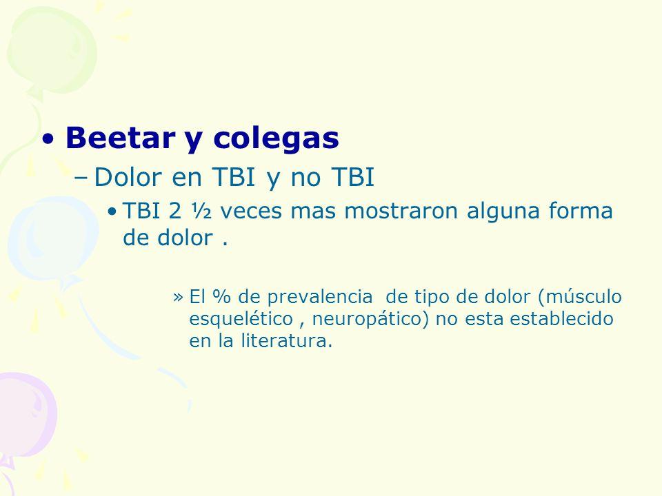 Beetar y colegas Dolor en TBI y no TBI