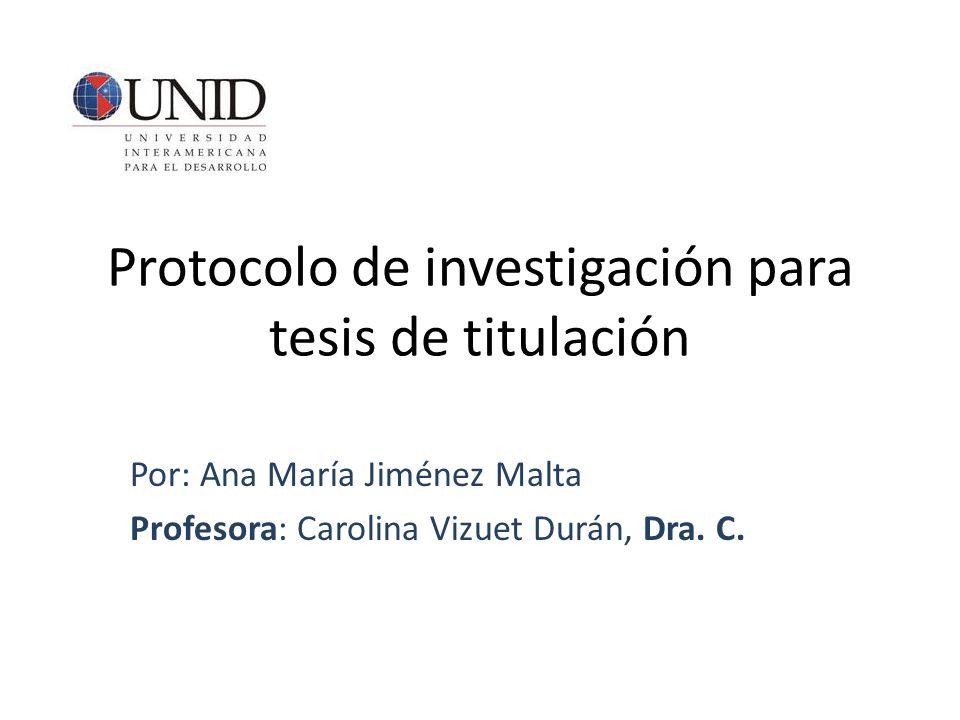 Protocolo de investigación para tesis de titulación