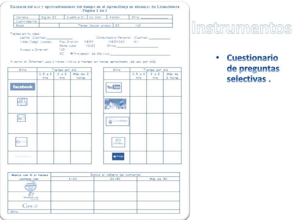 Instrumentos Cuestionario de preguntas selectivas .