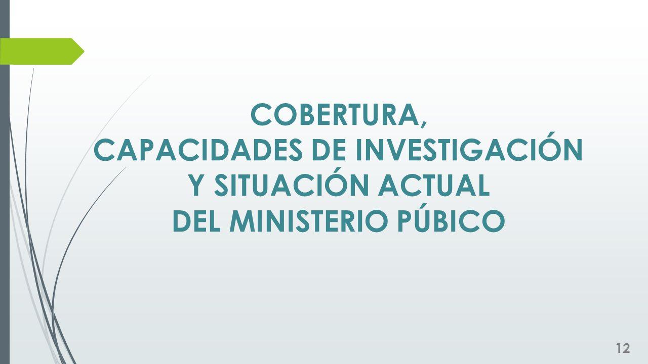 COBERTURA, CAPACIDADES DE INVESTIGACIÓN Y SITUACIÓN ACTUAL DEL MINISTERIO PÚBICO