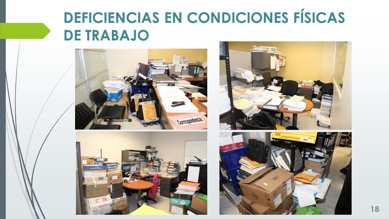 DEFICIENCIAS EN CONDICIONES FÍSICAS DE TRABAJO