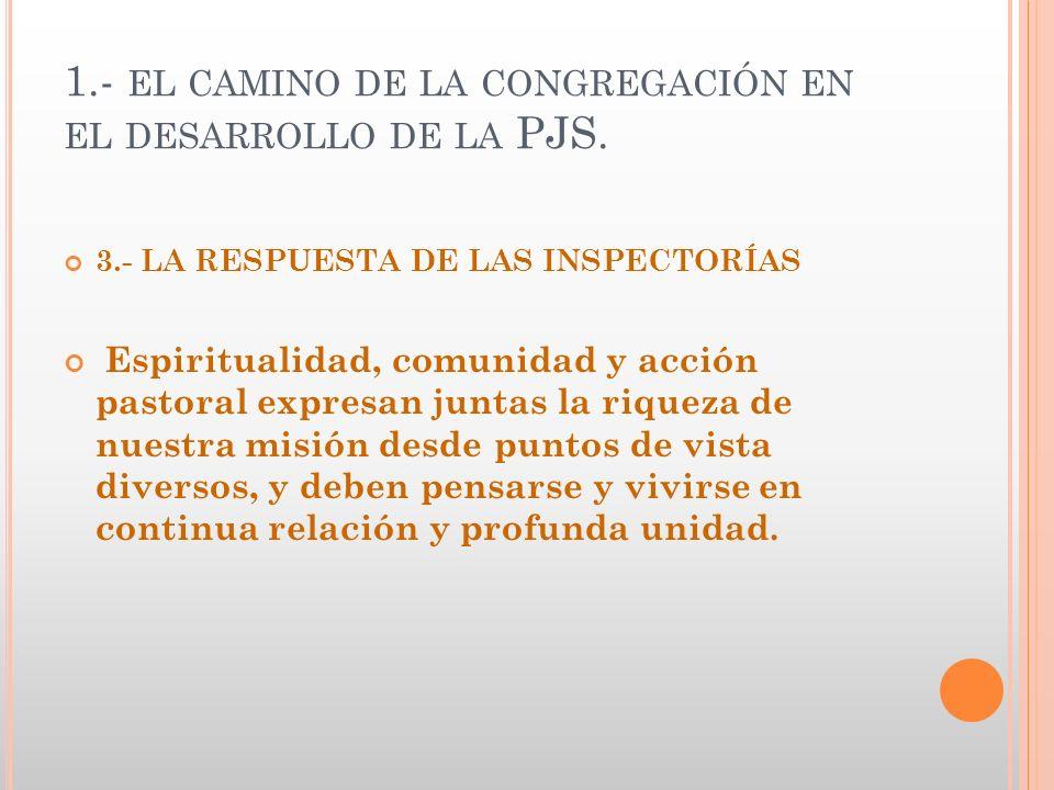 1.- el camino de la congregación en el desarrollo de la PJS.