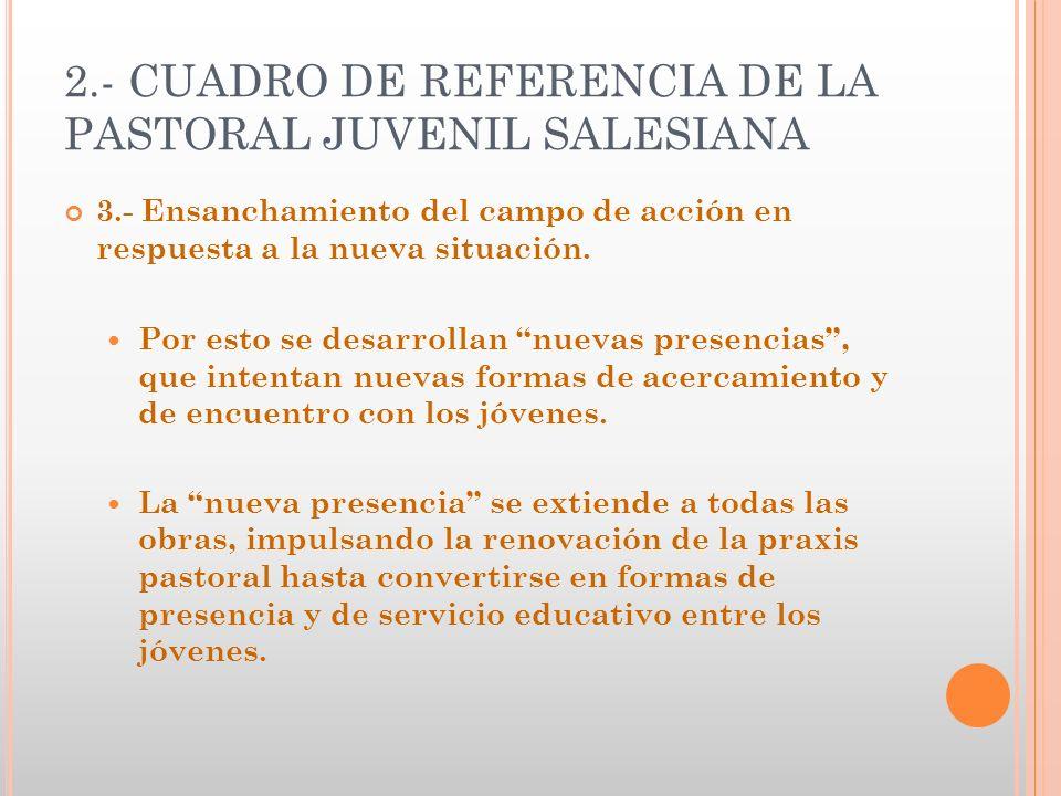 2.- CUADRO DE REFERENCIA DE LA PASTORAL JUVENIL SALESIANA