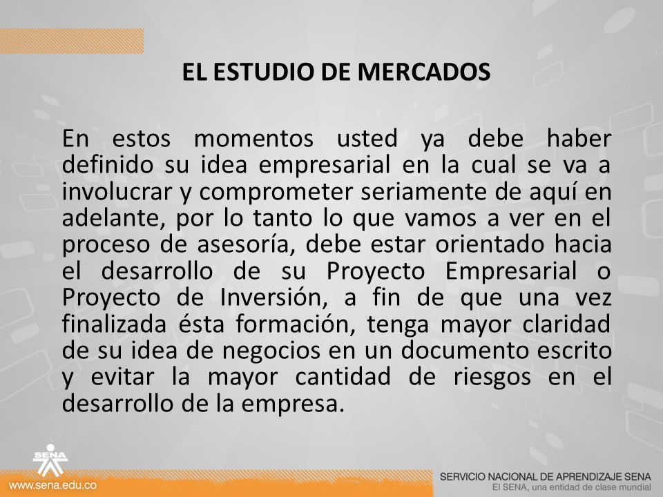EL ESTUDIO DE MERCADOS
