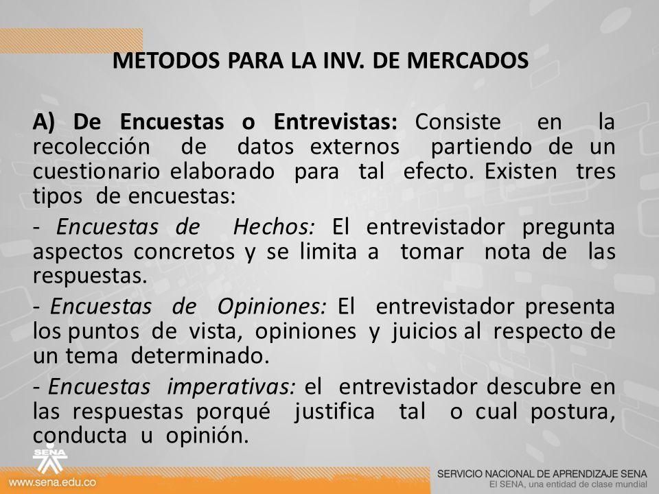 METODOS PARA LA INV. DE MERCADOS