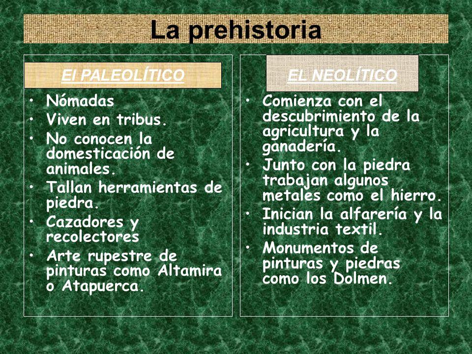 La prehistoria Nómadas Viven en tribus.