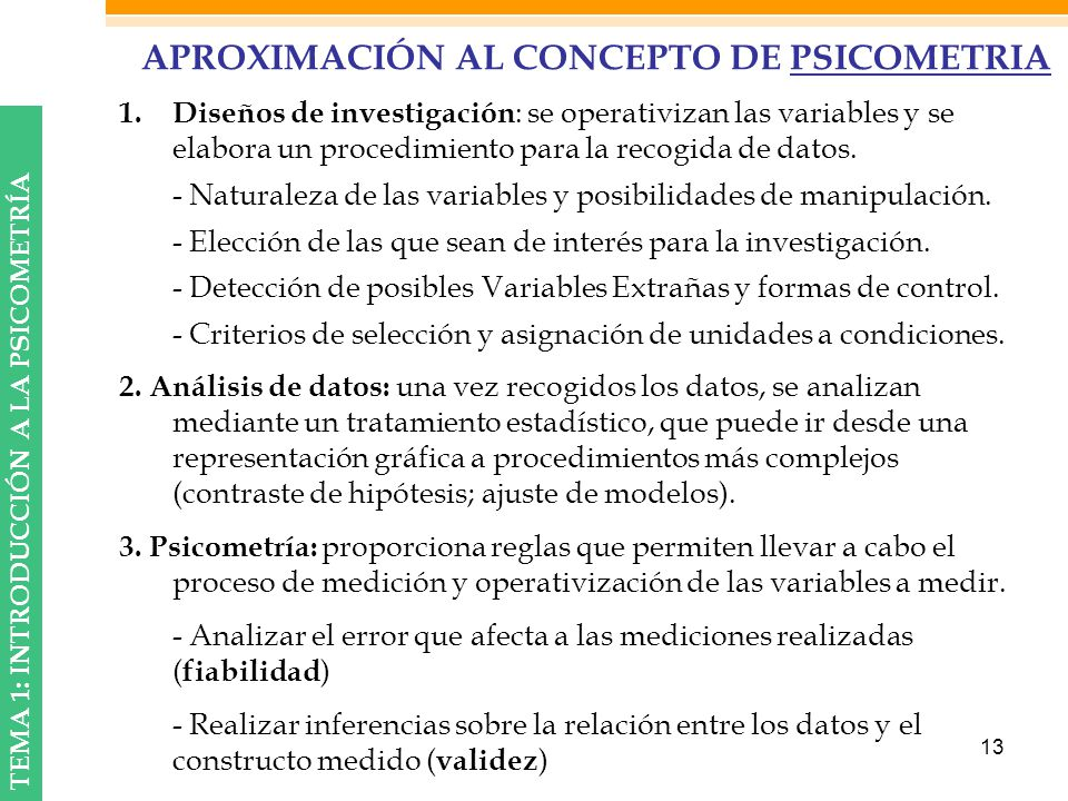 APROXIMACIÓN AL CONCEPTO DE PSICOMETRIA