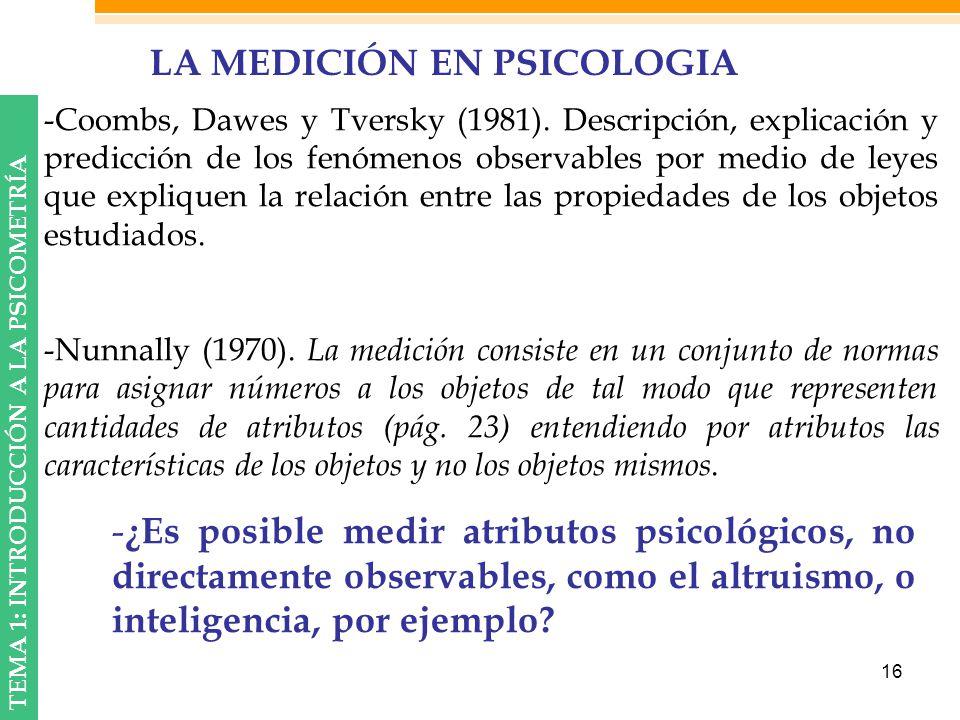 LA MEDICIÓN EN PSICOLOGIA