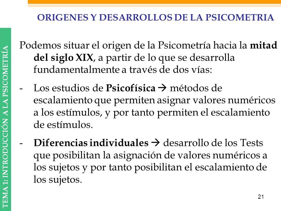 ORIGENES Y DESARROLLOS DE LA PSICOMETRIA