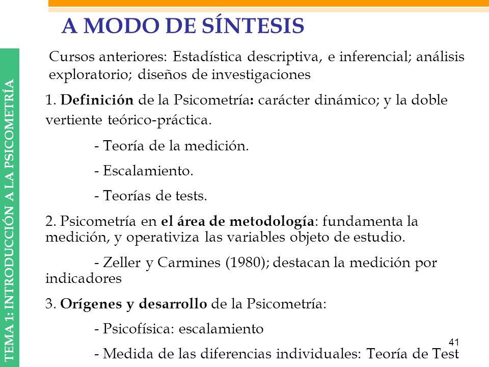 A MODO DE SÍNTESIS Cursos anteriores: Estadística descriptiva, e inferencial; análisis exploratorio; diseños de investigaciones.