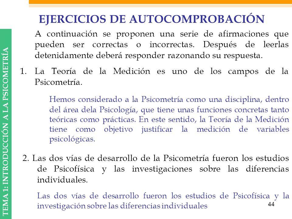 EJERCICIOS DE AUTOCOMPROBACIÓN