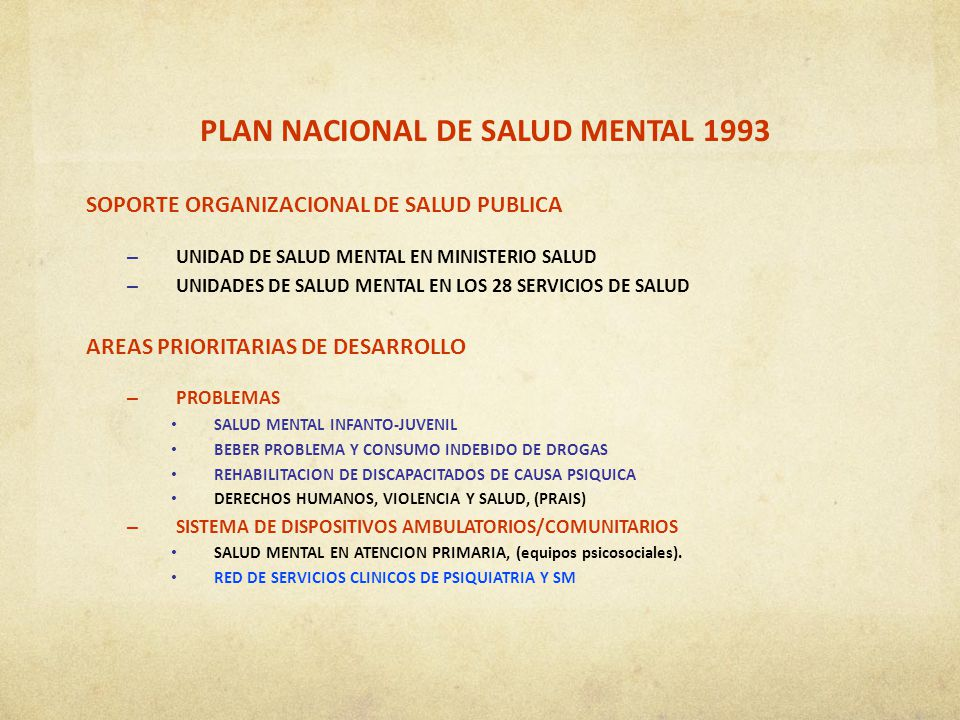 PLAN NACIONAL DE SALUD MENTAL 1993