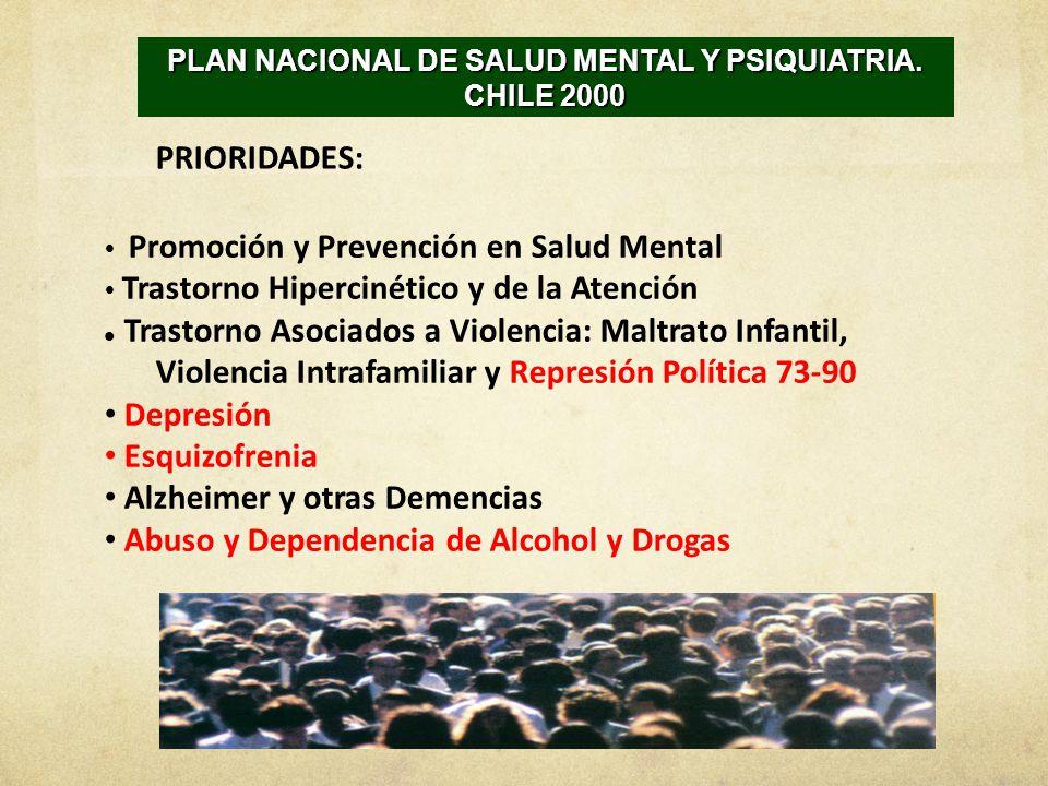 PLAN NACIONAL DE SALUD MENTAL Y PSIQUIATRIA. CHILE 2000