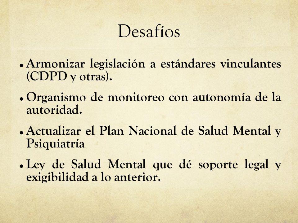 01/09/14 Desafíos. Armonizar legislación a estándares vinculantes (CDPD y otras). Organismo de monitoreo con autonomía de la autoridad.