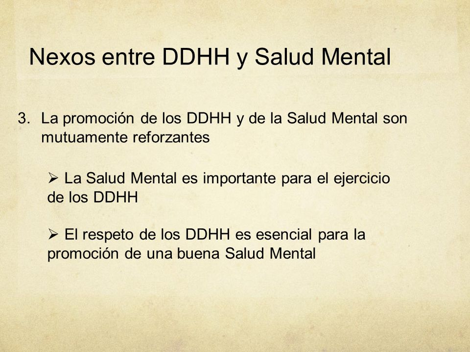 Nexos entre DDHH y Salud Mental