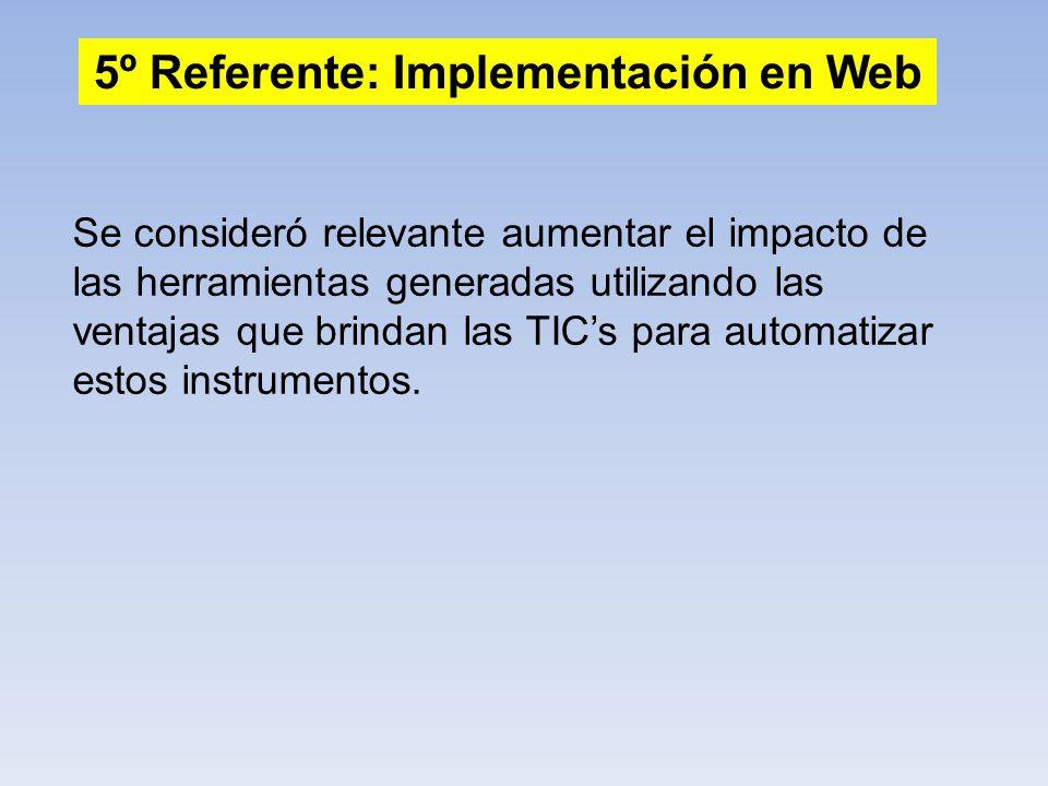 5º Referente: Implementación en Web