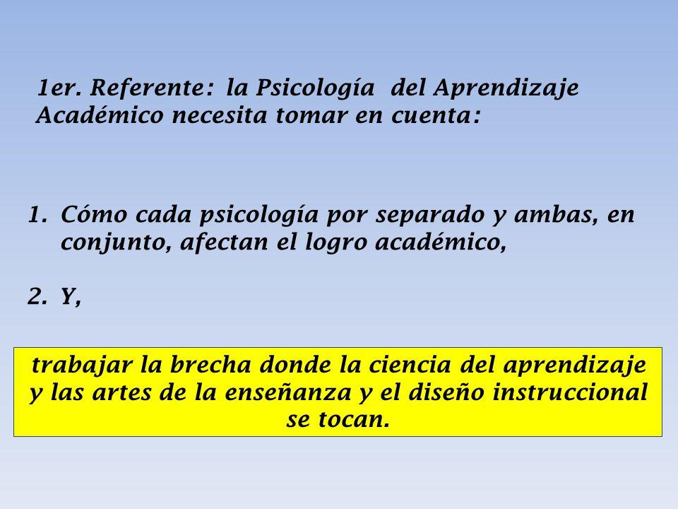 1er. Referente: la Psicología del Aprendizaje Académico necesita tomar en cuenta:
