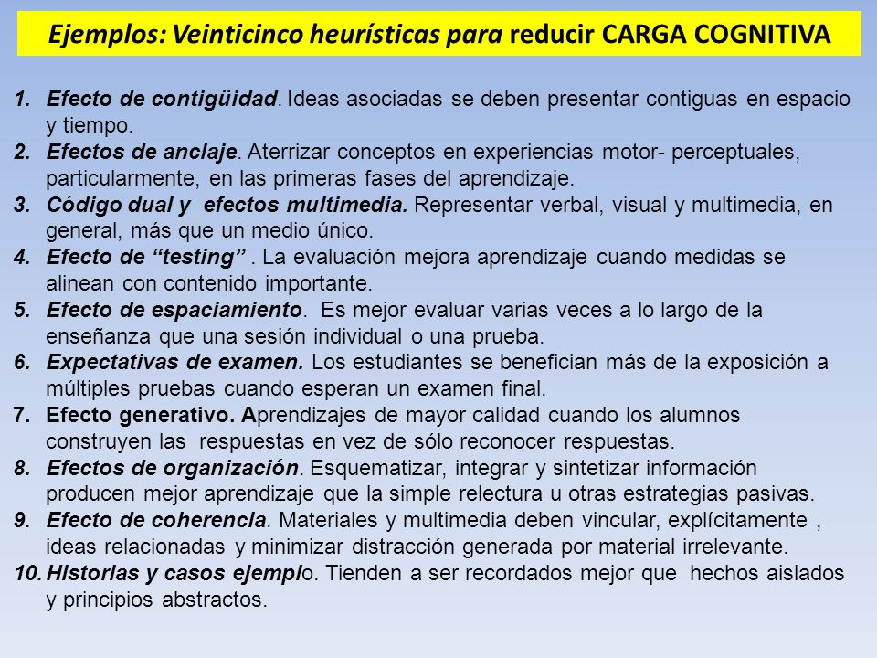 Ejemplos: Veinticinco heurísticas para reducir CARGA COGNITIVA