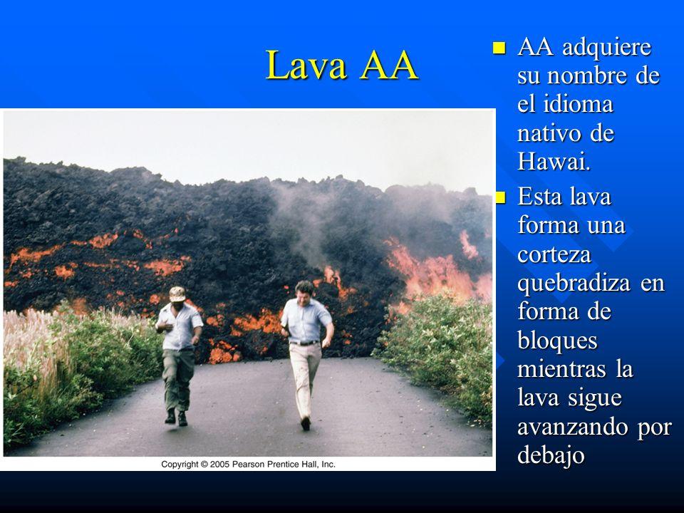 Lava AA AA adquiere su nombre de el idioma nativo de Hawai.