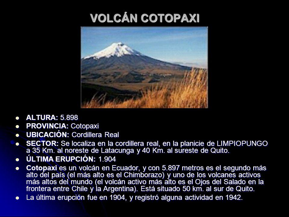 VOLCÁN COTOPAXI ALTURA: 5.898 PROVINCIA: Cotopaxi