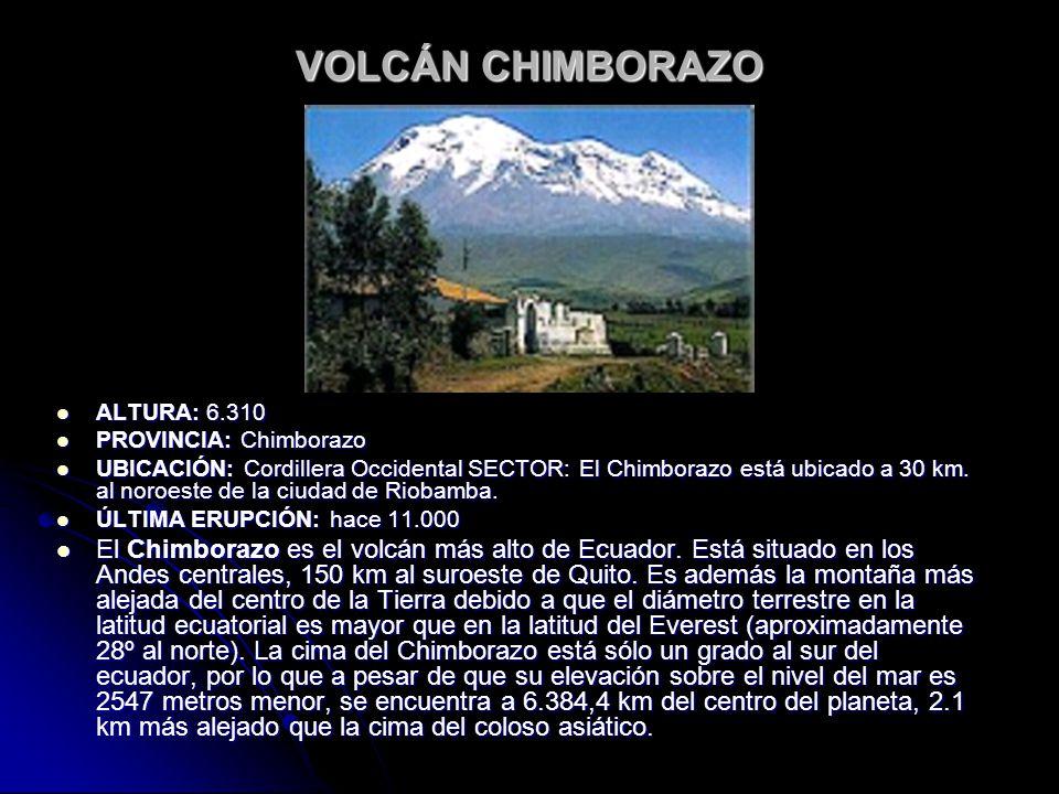 VOLCÁN CHIMBORAZO ALTURA: 6.310. PROVINCIA: Chimborazo.