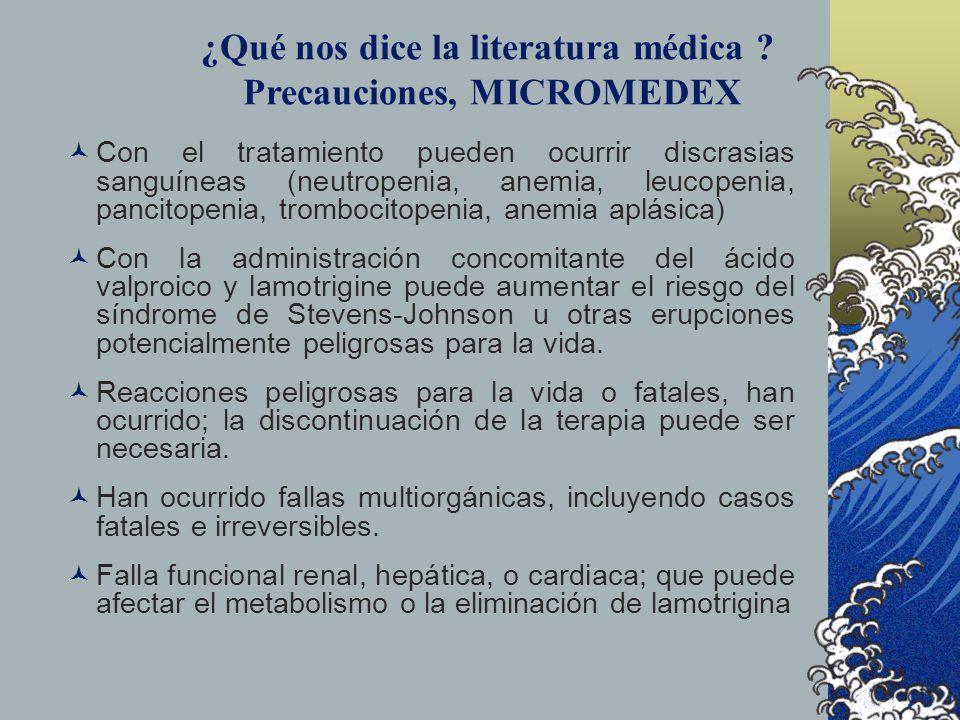 ¿Qué nos dice la literatura médica Precauciones, MICROMEDEX