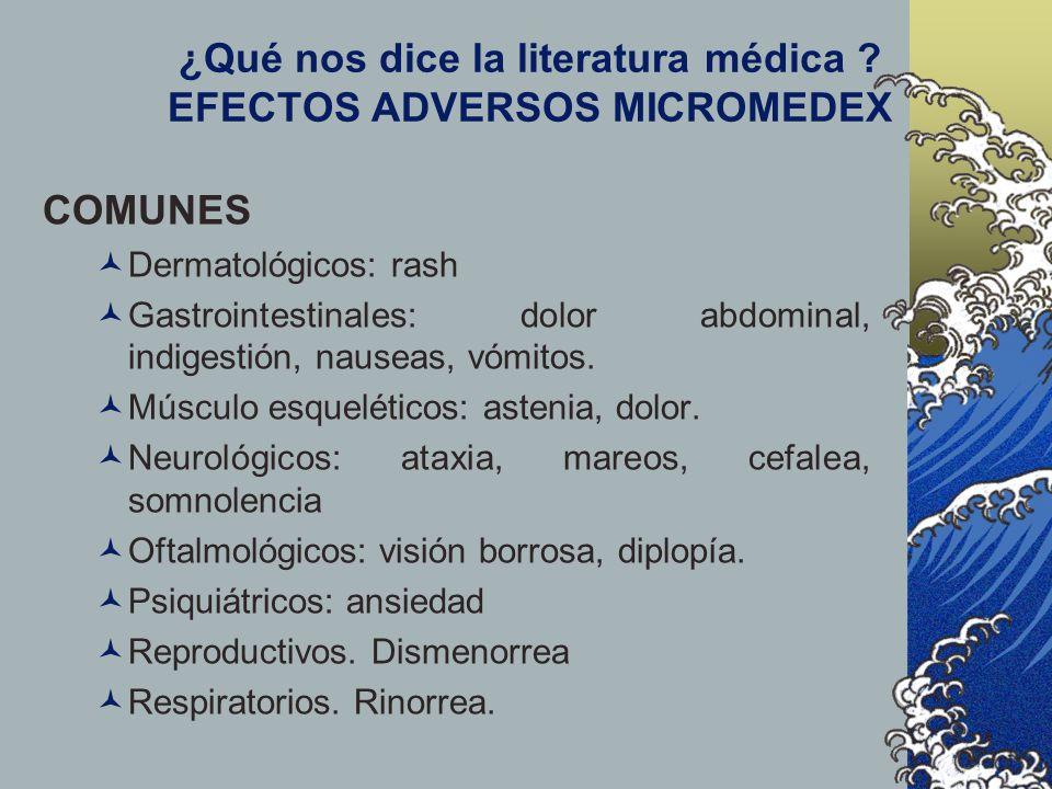 ¿Qué nos dice la literatura médica EFECTOS ADVERSOS MICROMEDEX