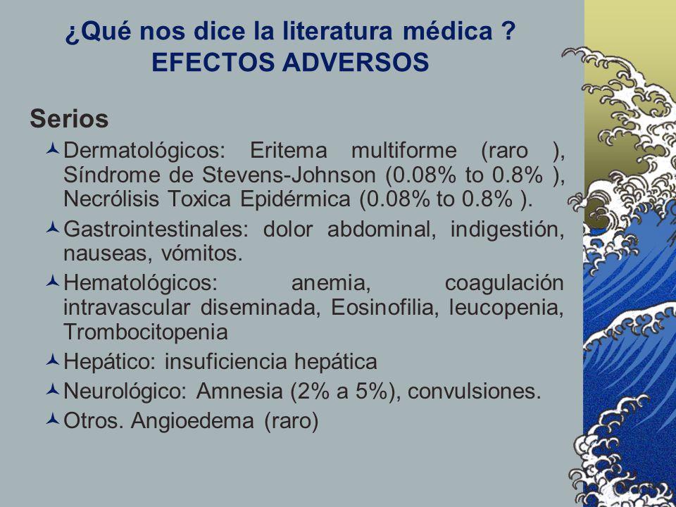 ¿Qué nos dice la literatura médica EFECTOS ADVERSOS
