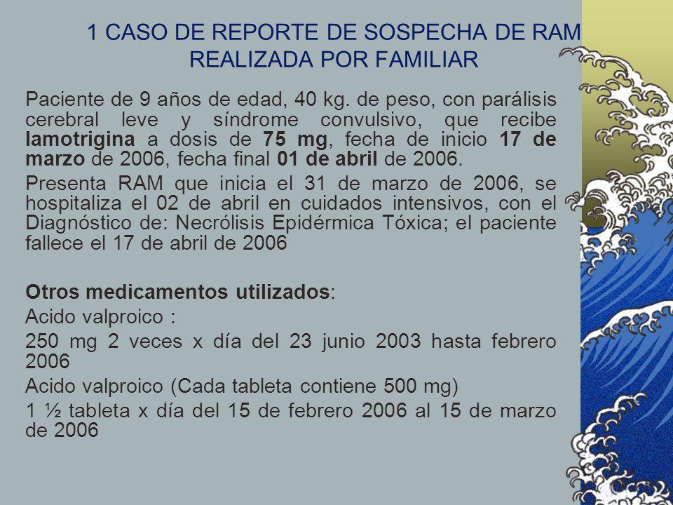 1 CASO DE REPORTE DE SOSPECHA DE RAM REALIZADA POR FAMILIAR