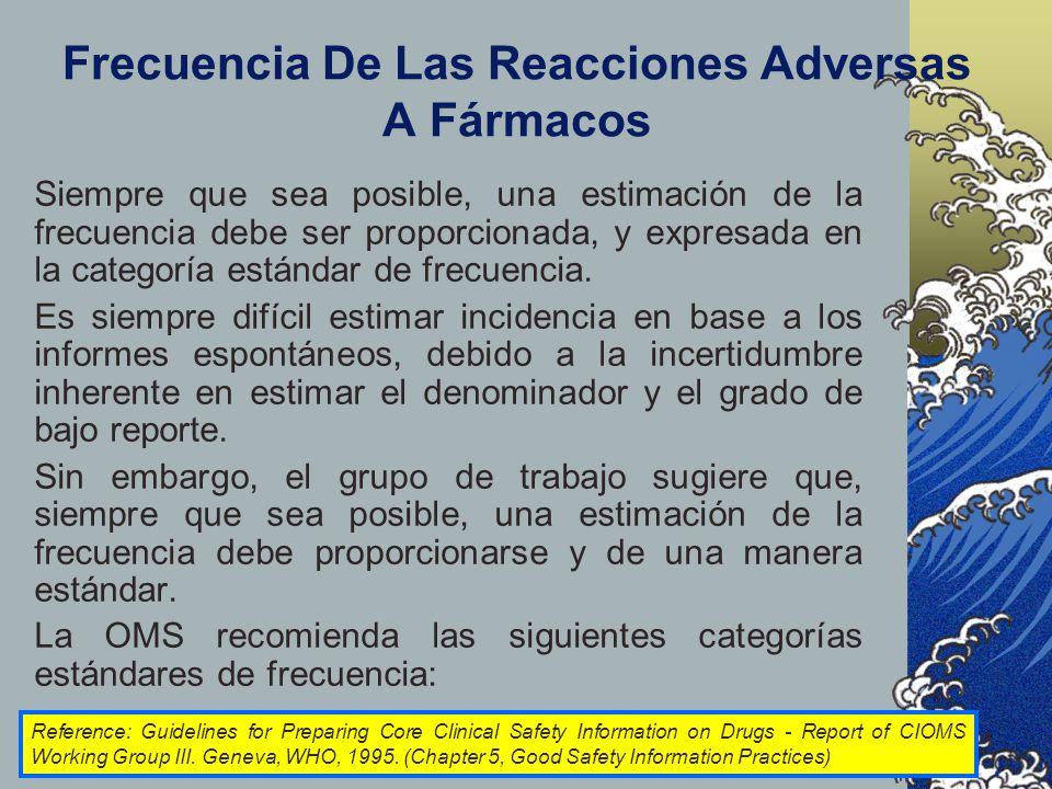 Frecuencia De Las Reacciones Adversas A Fármacos