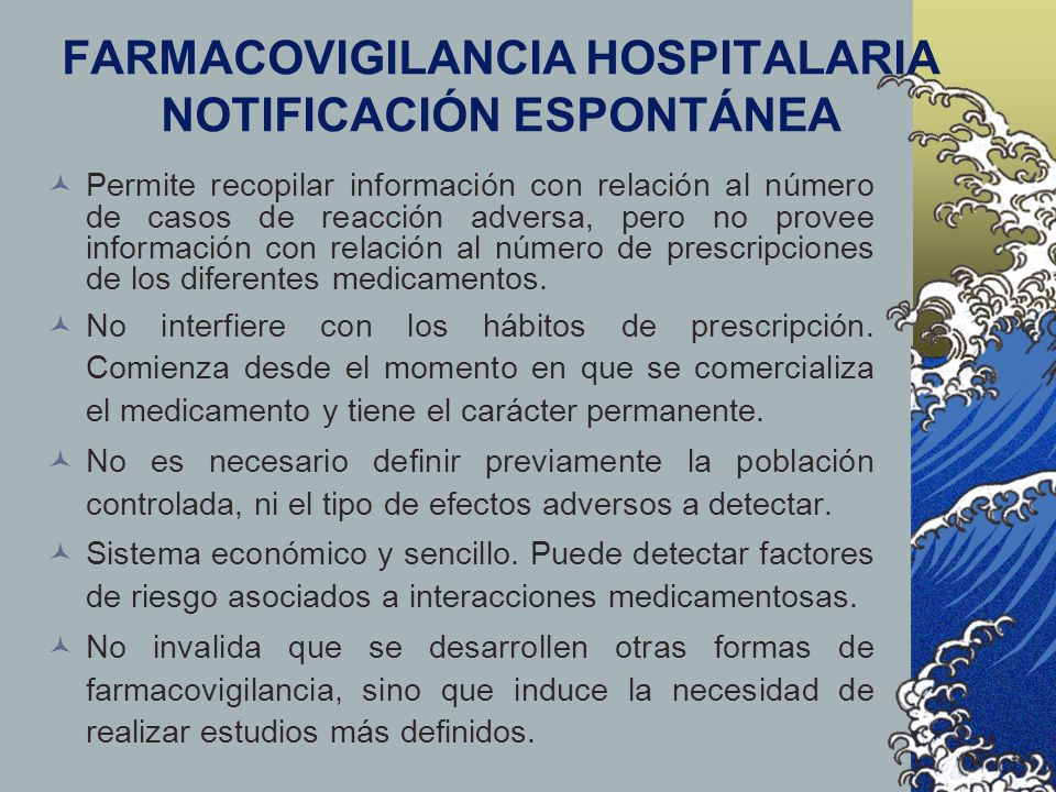 FARMACOVIGILANCIA HOSPITALARIA NOTIFICACIÓN ESPONTÁNEA