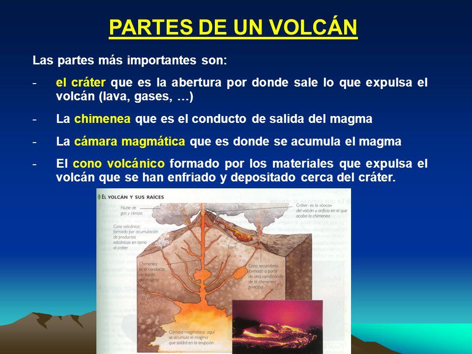 PARTES DE UN VOLCÁN Las partes más importantes son: