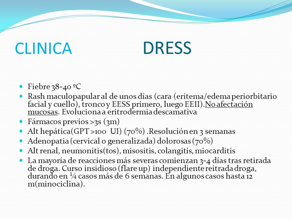 CLINICA DRESS Fiebre 38-40 ºC