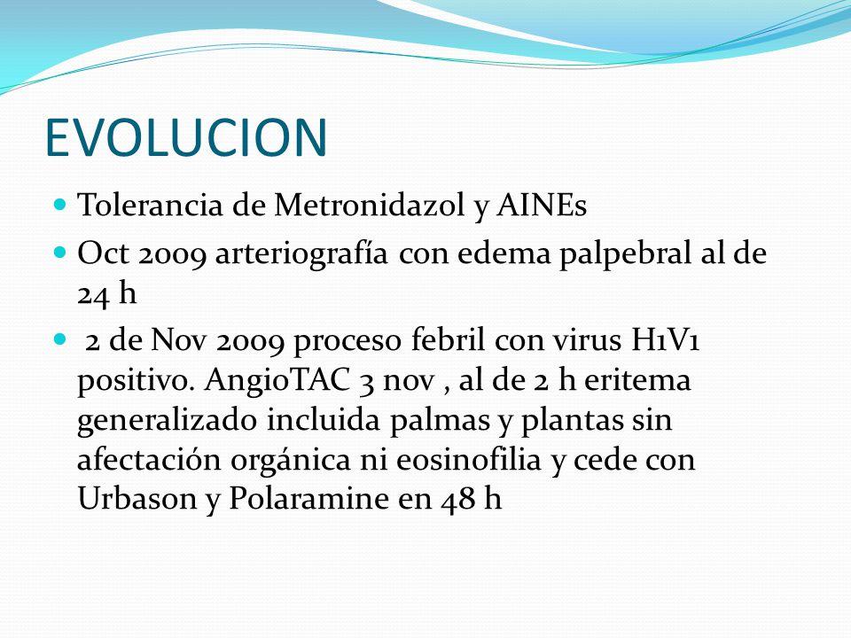 EVOLUCION Tolerancia de Metronidazol y AINEs
